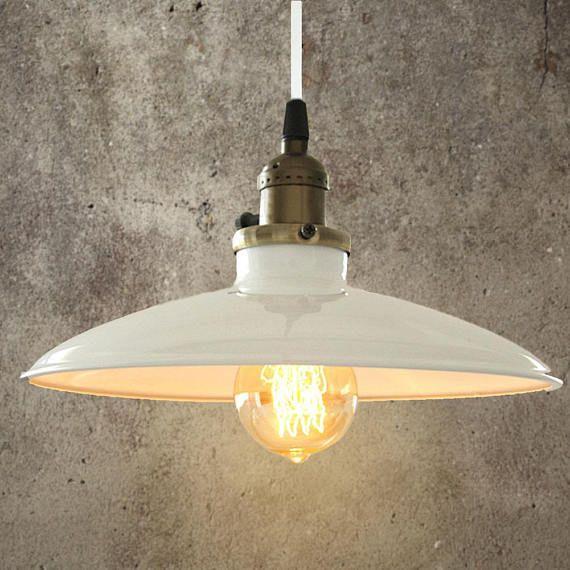 Vintage white industrial ceiling light pendant antique retro