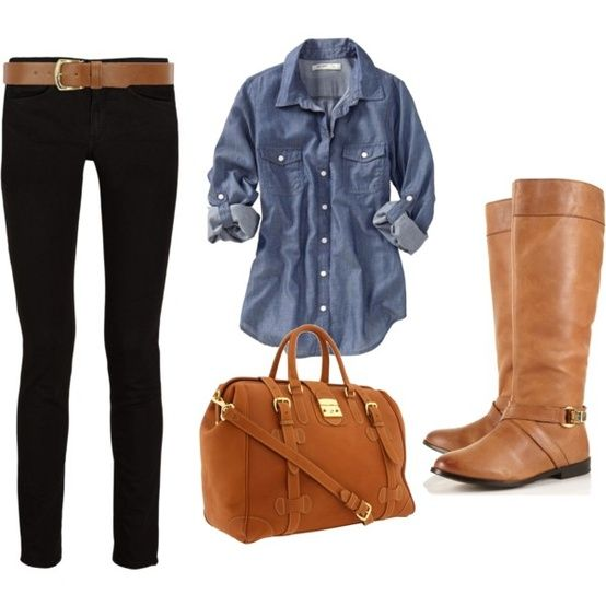 I never would have thought to put a denim shirt with black pants and brown boots but it looks so cute together!