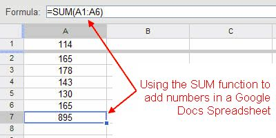 Google Spreadsheets Tutorial - SUM Function