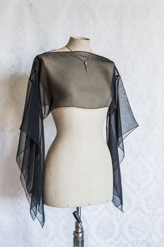 Black chiffon Kimono Top by KitsuneCoutureFI on Etsy