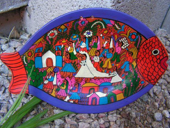 Mixtecos Indians Mexican Folk Art Pottery Mexico Wedding Plate