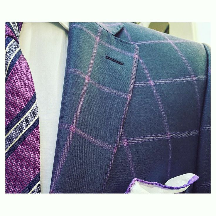Brand new dandy navy with purple check suit tailor-made by Rex in our Wellington store. Cloth by Dormeuil.  #workingstylenz #weddings #suit #menswear #dormeuil
