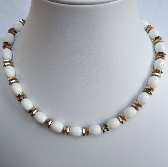 Vintage White Monet Necklace Lucite and Gold Tone by FireflyRetro, $18.00