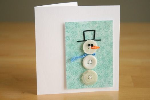 snowman button card: Christmas Cards, Buttons Stitches, Crafts Ideas, Snowman Buttons, Money Cards, Stitches Cards, Buttons Snowman, Buttons Cards, Snowman Cards