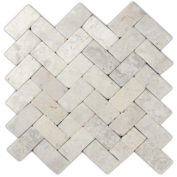 outdoor kitchen backsplash option~ Cream herringbone stone mosaic tile... for…