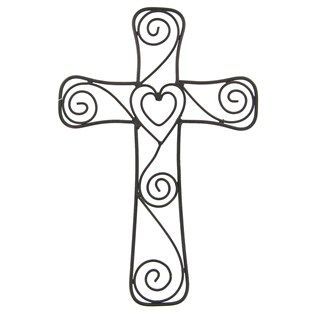 this beautiful metal cross with heart swirls will make an elegant statement in any room it is placed in the cross measures about wide x tall - Hearts Crosses Coloring Pages