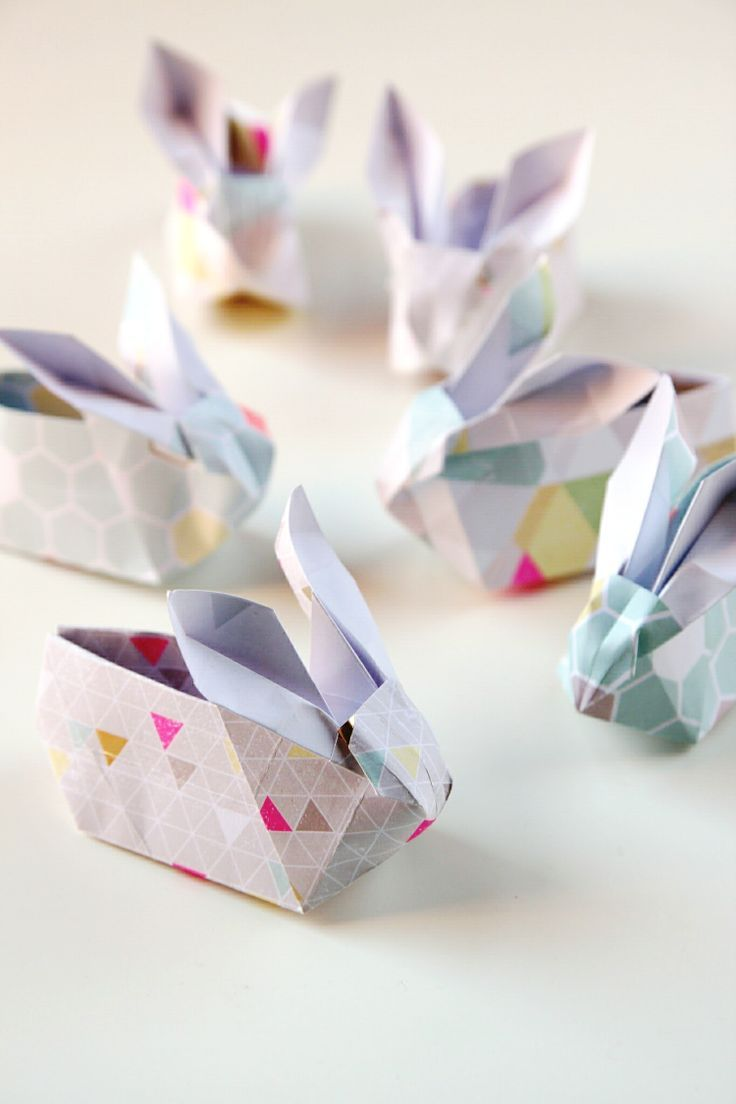 origami easter bunny baskets tutorial