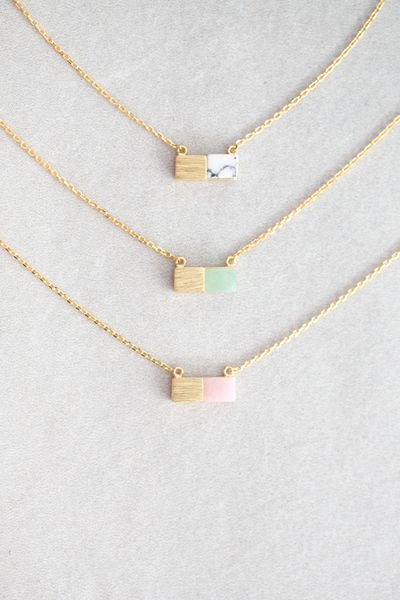 Gold and stone dainty charm necklace. LOVE the Jade.