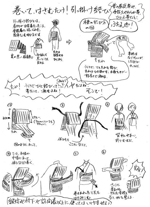 引掛け結びは、歌舞伎などで庶民の大人の女性が結んでいる、後ろでたれとてを結んで、たれは引き抜かず短い..