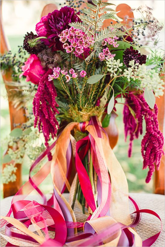 ribbon on deep hued bouquet #weddingflorals #bouquet