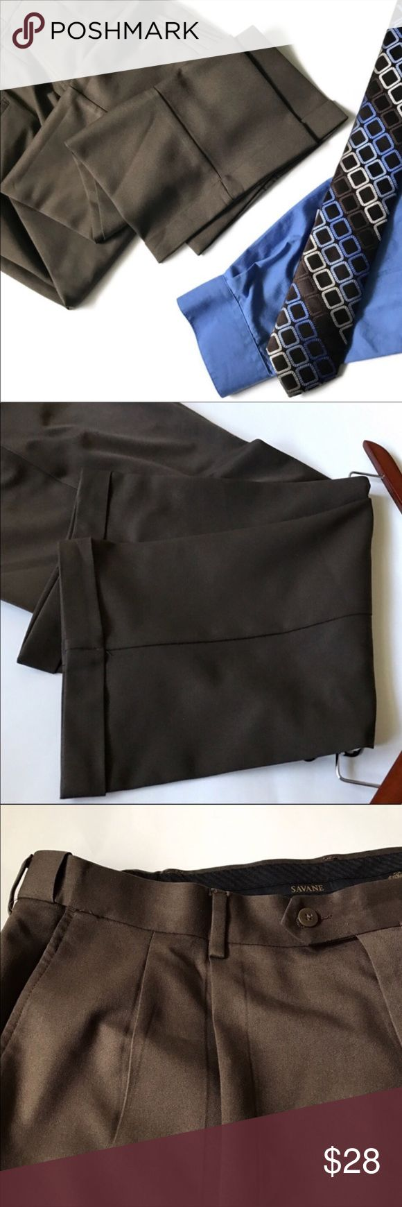 Men's classy dress pants Comfort plus dress pants by Savane in like new condition. Keeps you cool and dry. Perfect for a dress casual or dress up occasion!  Fabric: 100% polyester  Color: chocolate  Size: 40x32 Savane Pants Dress