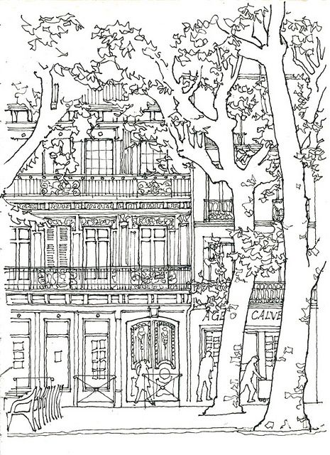 building coloring pages for adults - photo#34