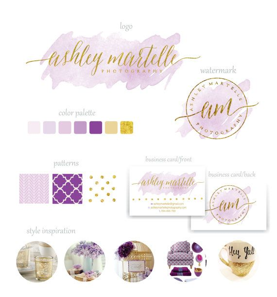 This listings is a purple and gold watercolor branding package, perfect for your photography, wedding or boutique business  * COLOR CHANGES ARE ACCEPTABLE   !!!!!!!!!!! IMPORTANT !!!!!! ♥THIS BRANDING PACKAGE IS NOT OOAK(one of a kind) AND WILL BE RESOLD♥   This set includes: 1. Logo design 2. Watermark (initials logo variant in circle) 4. Business card- front and back 5. Patterns 6. Customizable fonts  You will receive: For the logo and watermark: *.eps file- vector file for printing *.ai…