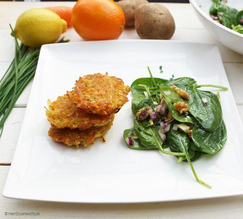 Kartoffel-Möhren-Puffer mit Babyspinat-Salat und einer delikaten Zitronette (vegan)