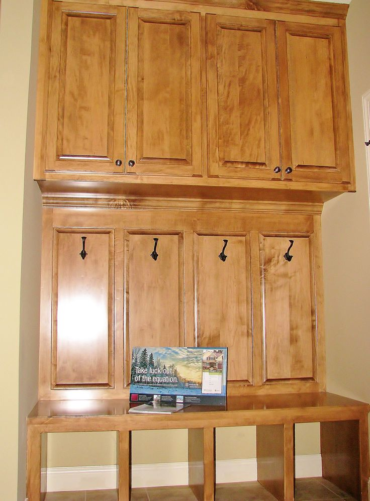 Hide Clutter Behind Beautiful Wood! Made By: Lakeside Cabinets And  Woodworking