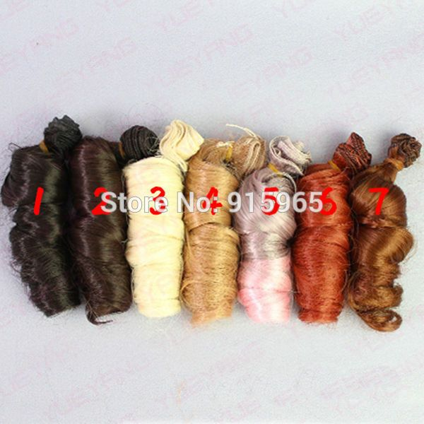 5 or 7 pieces/lot wholesales 15cm*100CM  curl brown falxen golden black wig hair for 1/3 1/4 BJD diy