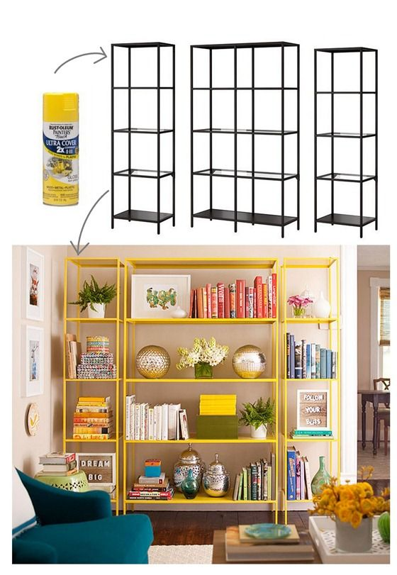 IKEA makes affordable Vittsjo shelving units, and if you spray paint them with Rust-Oleum's yellow gloss paint, you'll get a similar look to the colorful metal bookshelves at Room and Board.