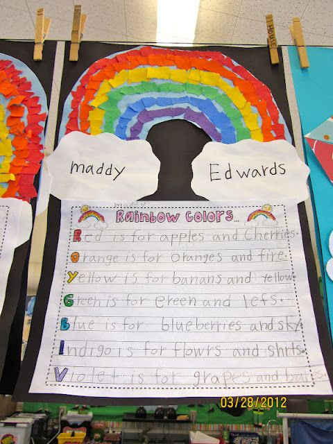 Rainbow colors craft/writing project describing each of the colors and add to a decorated rainbow arch with tissue/colored paper squares clouds have students first and last name on either side of arch.