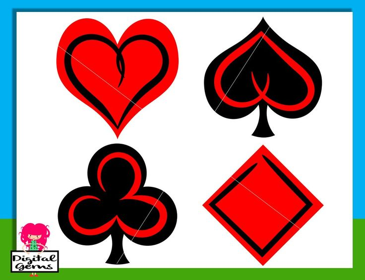 Playing Card Symbols, Heart, Club, Diamond, Spade SVG / DXF Cutting Files For Cricut Explore / Silhouette & PNG Clipart, Digital Download by DigitalGems on Etsy