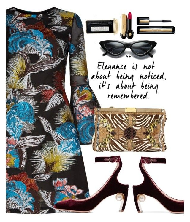 """Elegance"" by juliehooper ❤ liked on Polyvore featuring Mary Katrantzou, Nicholas Kirkwood, Jimmy Choo and Guerlain"