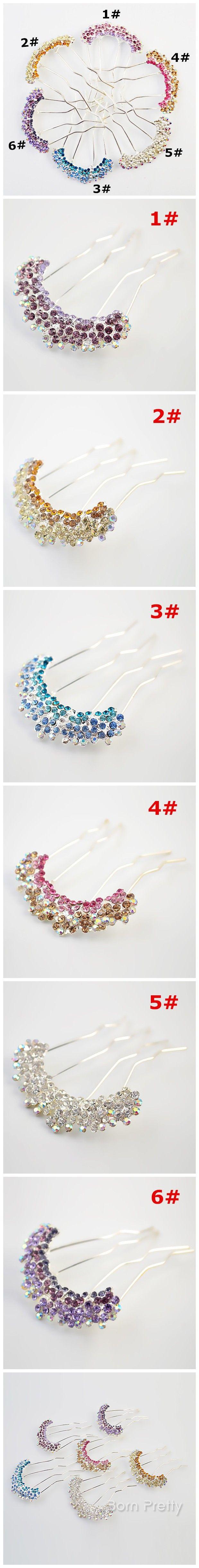 $2.29 Fashion Austrian rhinestone crystal flower hair comb fork - BornPrettyStore.com