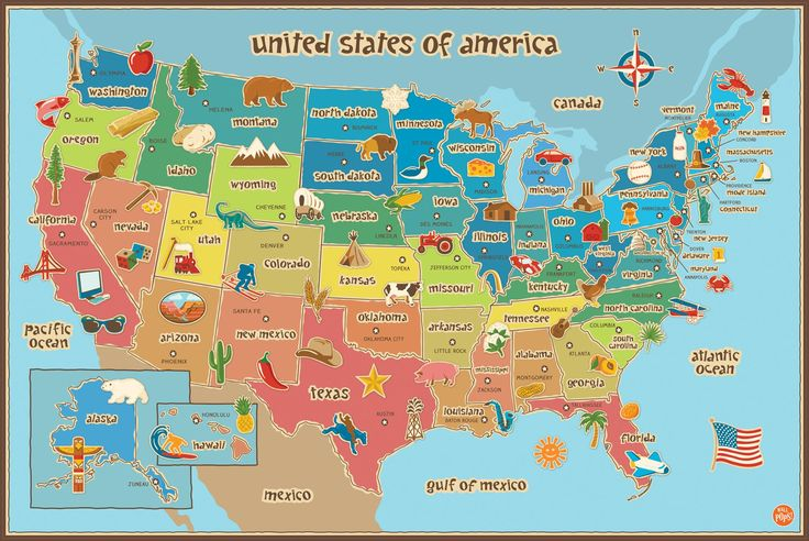 Best Maps Images On Pinterest For Kids Cartography And Children - States and capitals map of usa