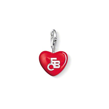 "Charm pendant ""FC Bayern-Heart""  with lobster clasp 925 Sterling silver,  red-enamelled, size: 1.3 cm"