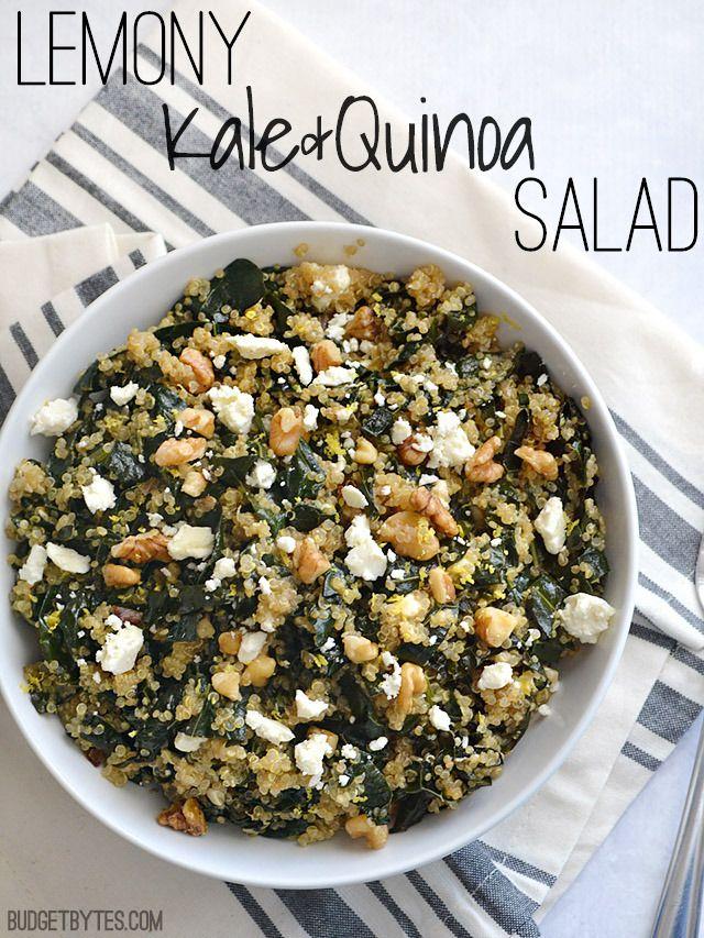 Lemony Kale and Quinoa Salad with walnuts and feta - BudgetBytes.com