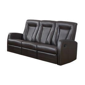 Monarch Specialties Dark Brown Faux Leather Sofa