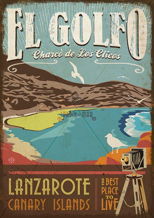 Handmade drawing of vintage signs. El Golfo - Lanzarote Jardín del Mar - Artesanos Lanzarote #drawing #vintage #wooden #signs #artesania #lanzarote #elgolfo