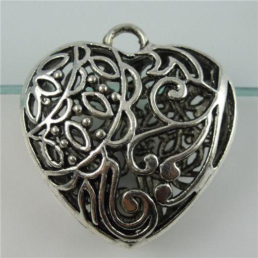 ( 5 pieces / lot ) 11418 сплав винтажный серебро тон большие полые в форме сердца мотаться кулон