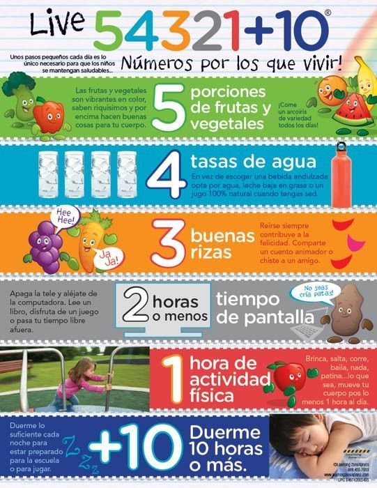 """Countdown to good health with six daily tasks that can help promote a healthy lifestyle. The Live 54321+10® for Kids Spanish Handouts identify and explain the significance of the numbers in the countdown for school-age children. 8 ½"""" x 11"""", 50 sheets, 2-sided."""