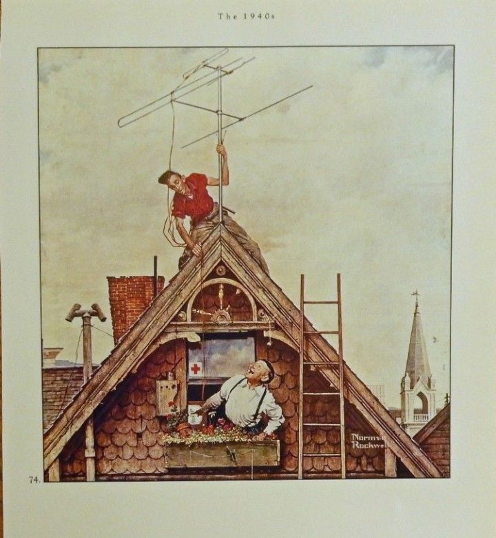 New Television Antenna 1949  Norman Rockwell  original vintage 1988 Estate Book of NR print art