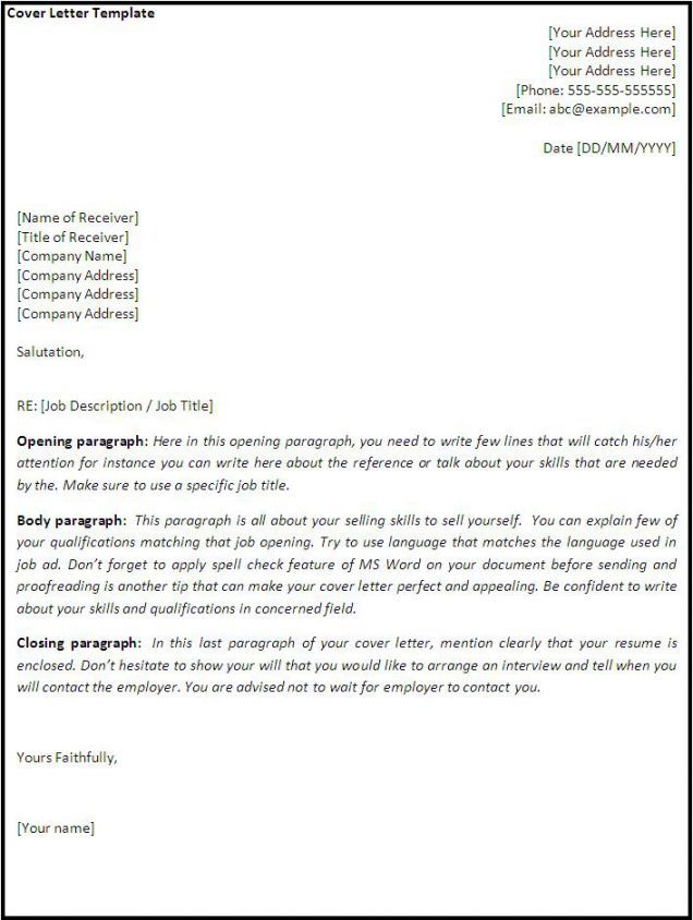 Cover Letter Templates Cover Letter Template Cover