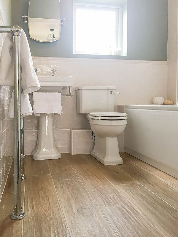 cream metro tiles and white bathroom suite - Google Search