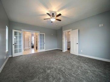 Rosetta Blue bedroom walls and white trim. gray carpet ...