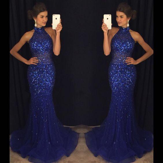 Mermaid royal blue dress