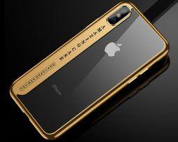 Silikónový transparentný kryt pre iPhone X so zlatými okrajmi .