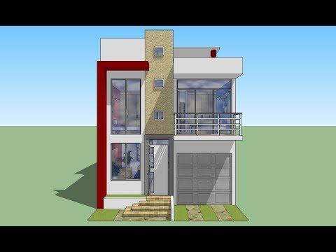 Casa de de terreno youtube planos de casas for Casa moderna 7x20