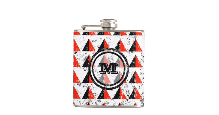 Distressed Geometric Triangles Monogram Flask by EKpatterns