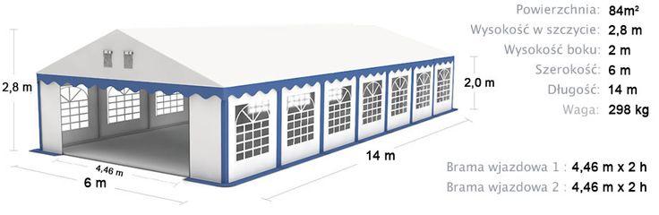 Namiot Handlowy Imprezowy 6m x 14m (84m²) wzmocniony STANDARD PLUS / Commercial Tent 6x12 Stronger