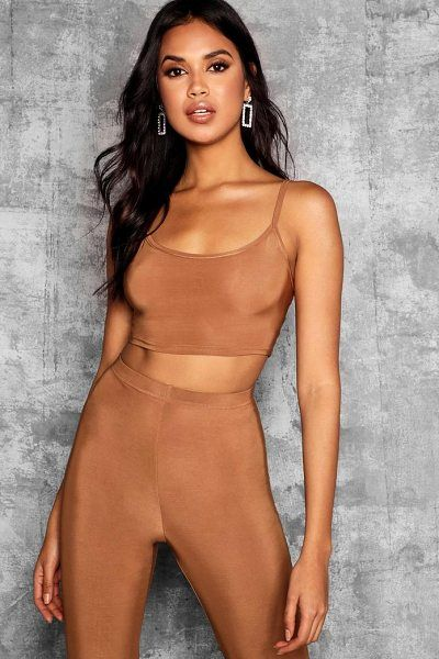 8e6121e3c4fcc Tall strappy slinky crop top by Boohoo  boohoo
