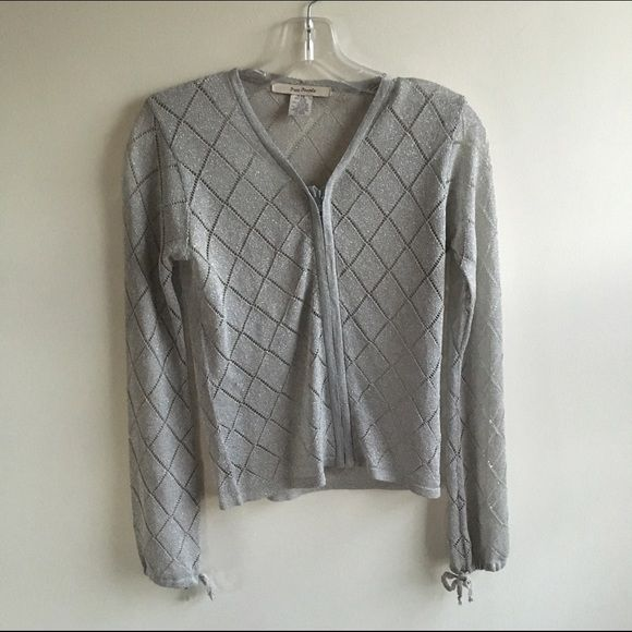 Free People Metallic zip up cardigan Gorgeous zip up cardigan by Free People. Has tie sleeves. Sheer material with diamond pattern. There are a few areas that the spaces in between the pattern that have stretched. Overall in good condition. Free People Sweaters Cardigans