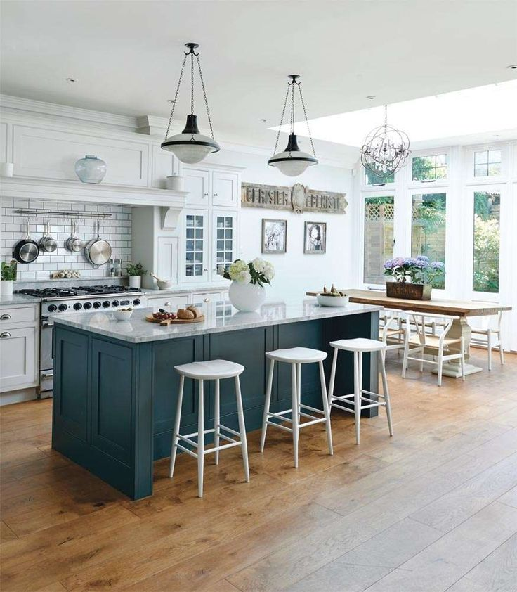 ... Stunning Kitchen Dining Room Decoration Using Round White Bar Kitchen  Chair Including Dark Green Free Standing Kitchen Island And White Marble  Island