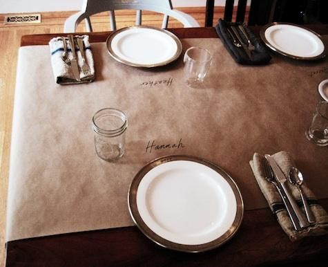 "Kraft Paper Table Runner and easy ""place cards""... Brilliant! Doing this for the holiday dinners..."