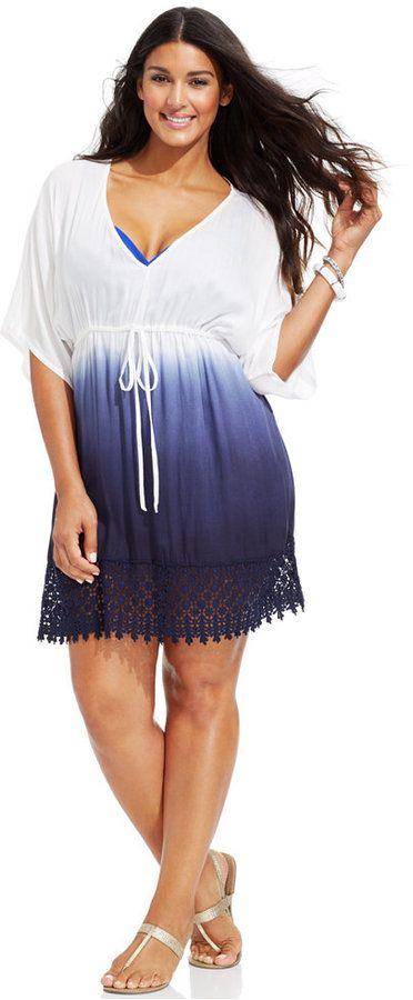Plus Size Ombre Crochet-Hem Tunic Cover Up