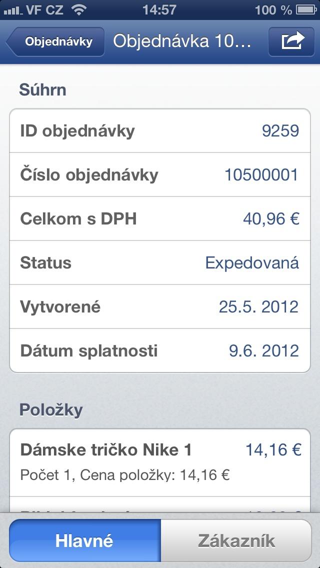 detail objednávky vo Flox app - iPhone 5