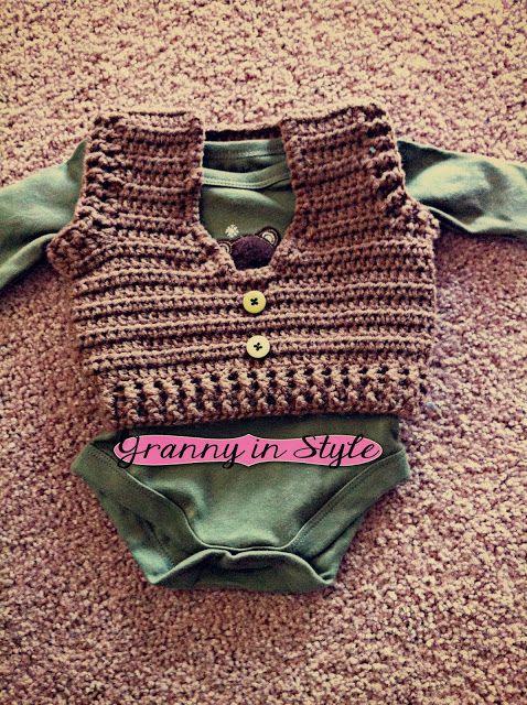 Newborn Crochet Vest- FREE Pattern. For Baby BOY Baird ...