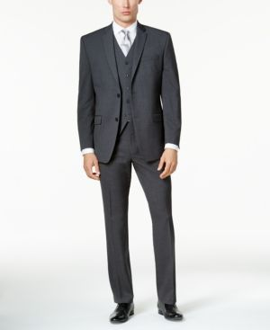 Marc New York by Andrew Marc Men's Classic-Fit Charcoal Mini-Grid Vested Suit - Gray 48L