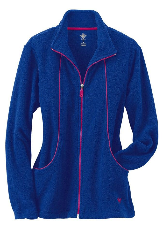 Super cute for Fall and anyone working night shift, nice color selection. Med Couture fleece zip front scrub jacket. Main Image